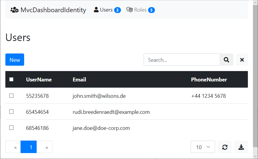 Users view in Identity Dashboard